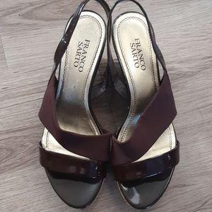 Franco Sarto   cork wedge strap stretch sandal